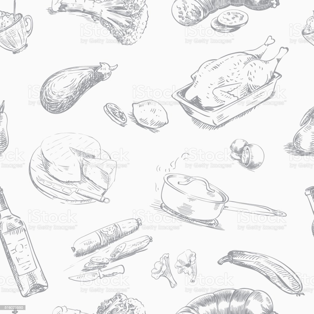 foodstuffs. seamless background vector art illustration