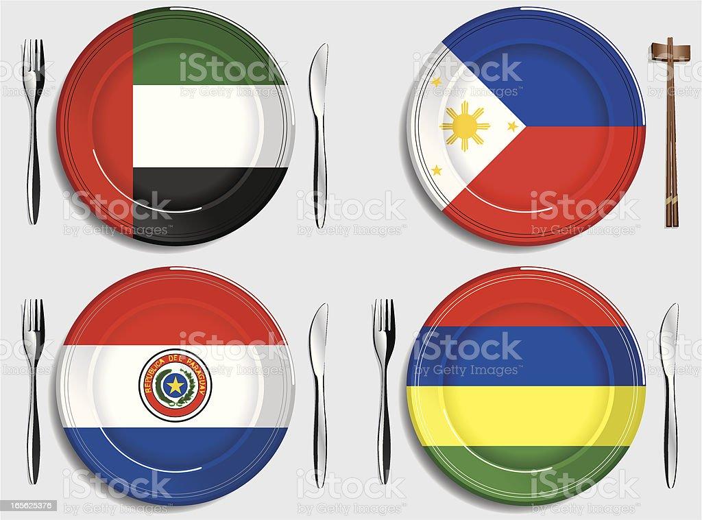 Food-United Arab Emirates-Philippines-Paraguay-Mauritius royalty-free stock vector art
