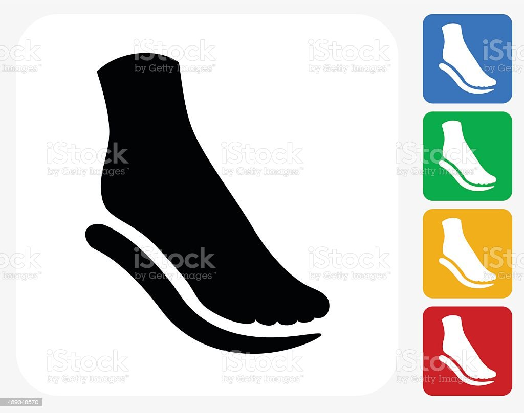Foot and Padding Icon Flat Graphic Design vector art illustration