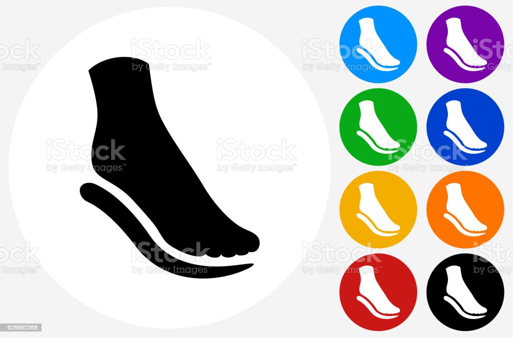 Foot and Padding Icon on Flat Color Circle Buttons vector art illustration