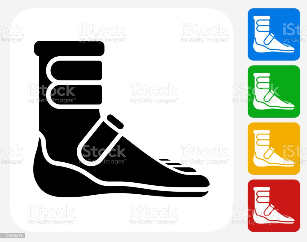 Foot Cast Boot Icon Flat Graphic Design vector art illustration