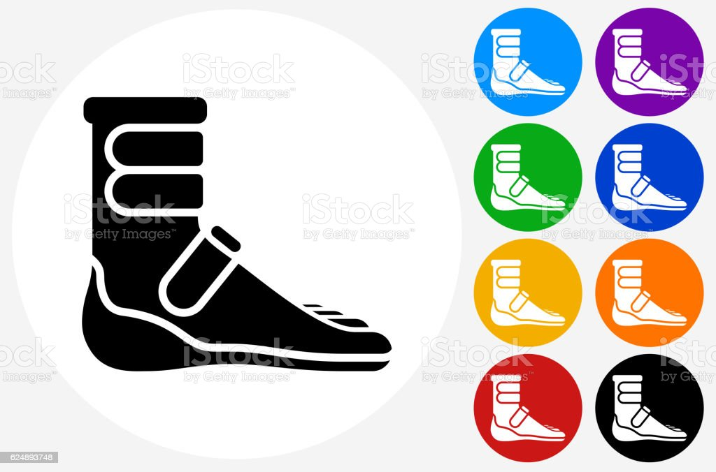 Foot Cast Boot Icon on Flat Color Circle Buttons vector art illustration