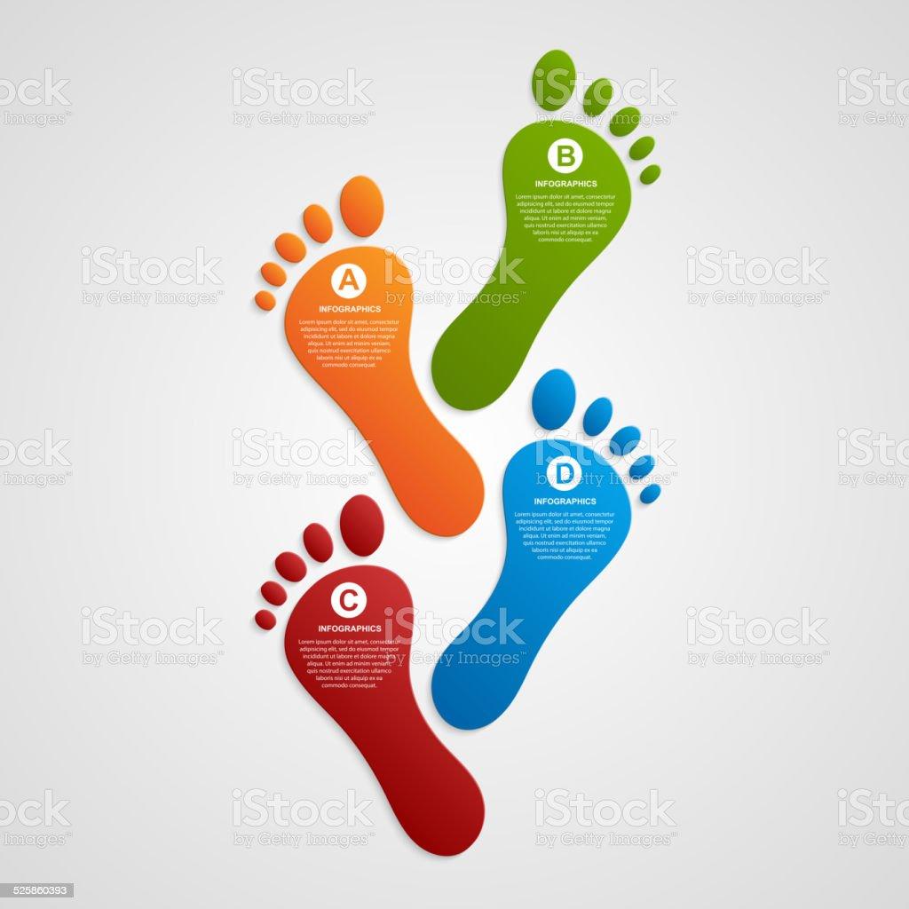 Foot modern design template infographics. vector art illustration