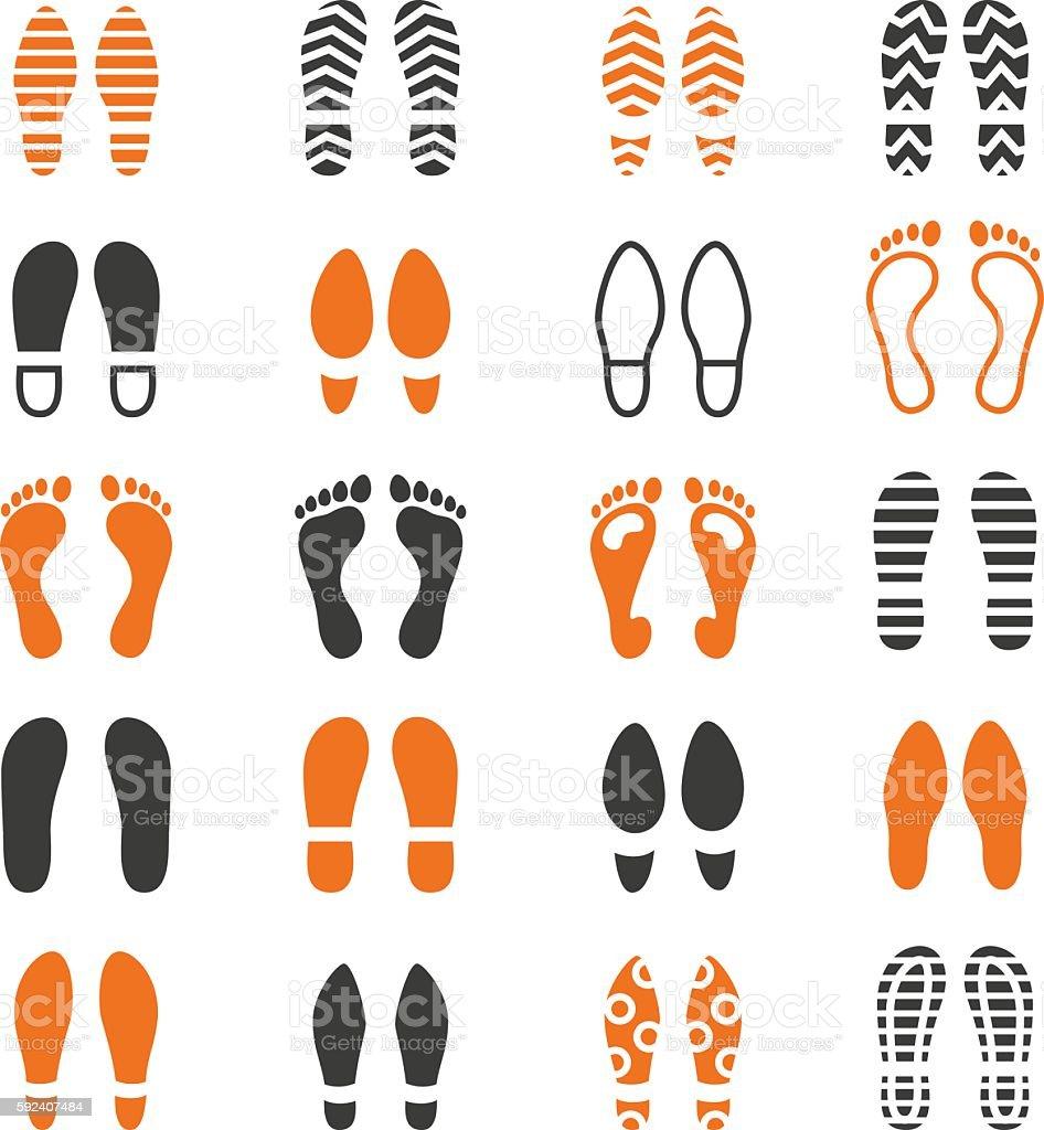 Foot print icon set vector art illustration