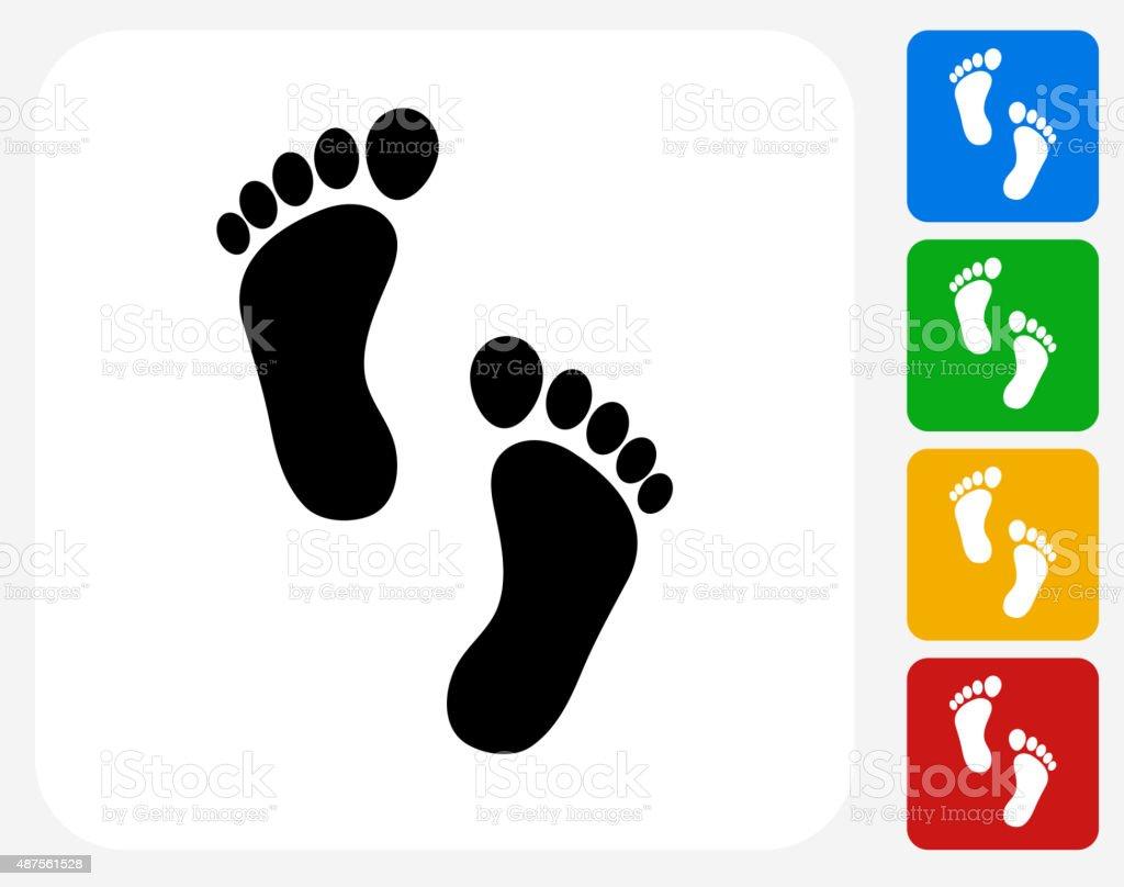 Foot Prints Icon Flat Graphic Design vector art illustration