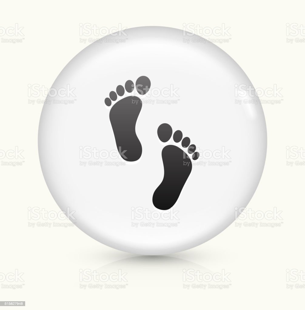 Foot Prints icon on white round vector button vector art illustration