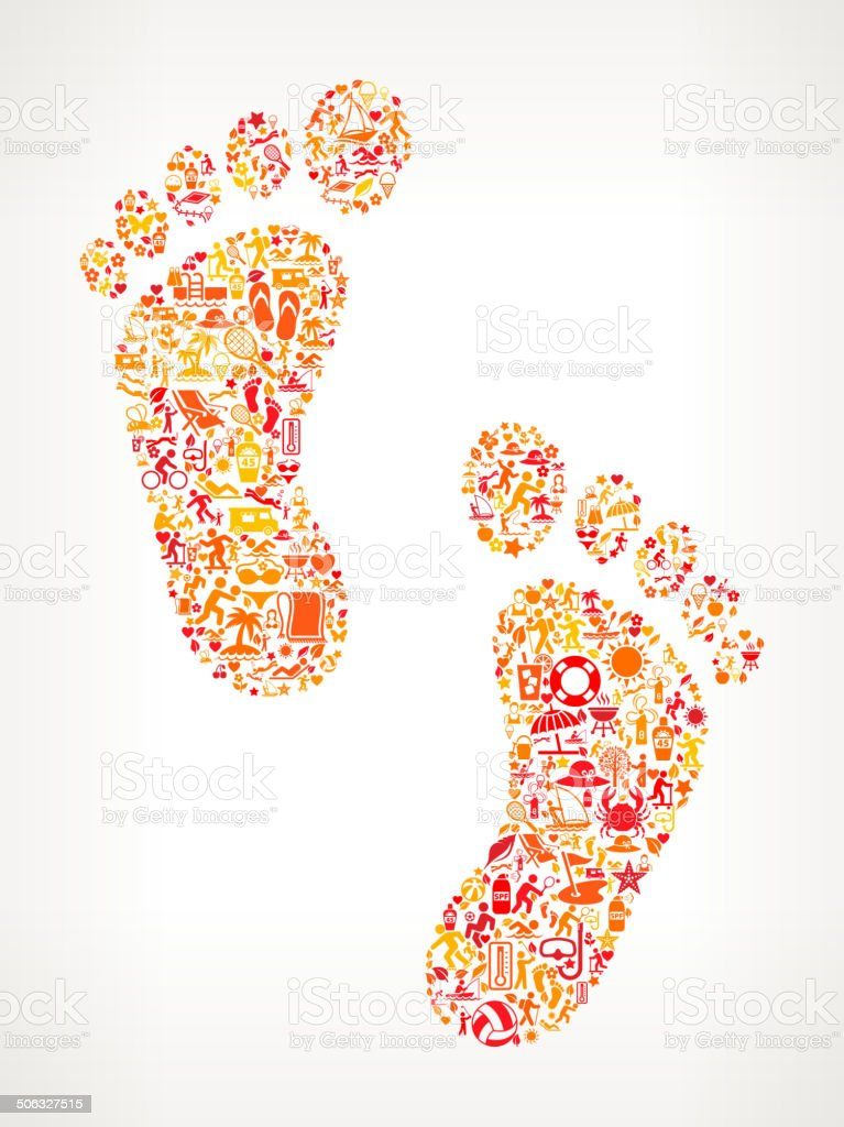 Foot Prints on Summer royalty free vector art Pattern royalty-free stock vector art