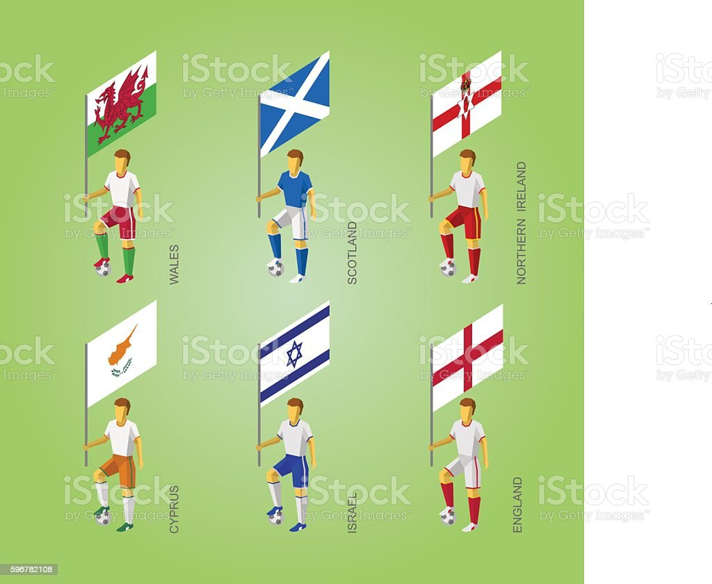 Footbalers with flags: Cyprus, Israel, England, Wales, Northern Ireland, Scotland vector art illustration