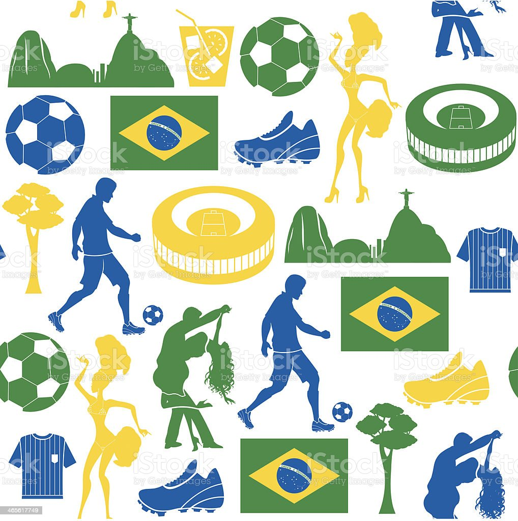 Football and Brazil Repeat Pattern vector art illustration
