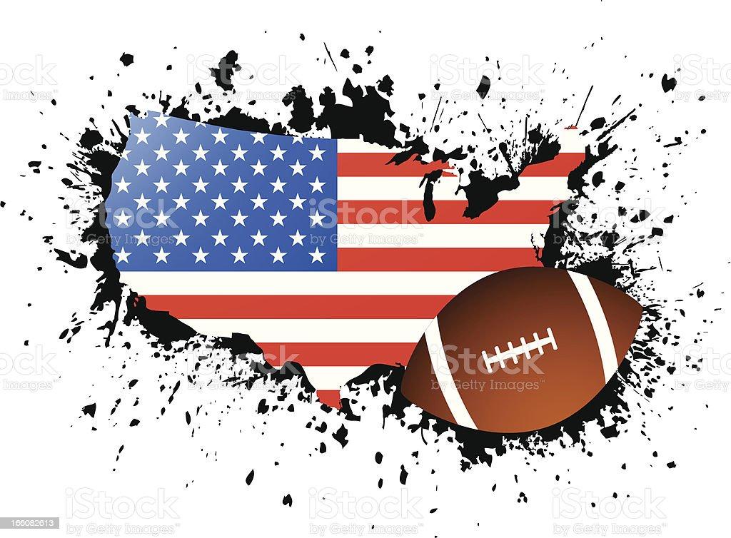 Football and map of USA royalty-free stock vector art
