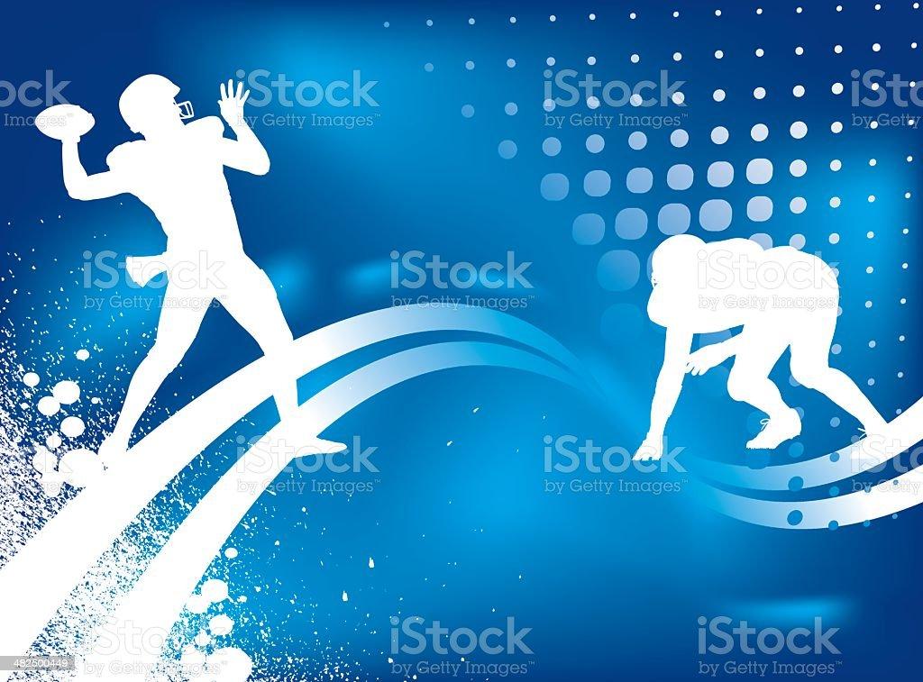 Football background - Quarterback, Defensive Player vector art illustration