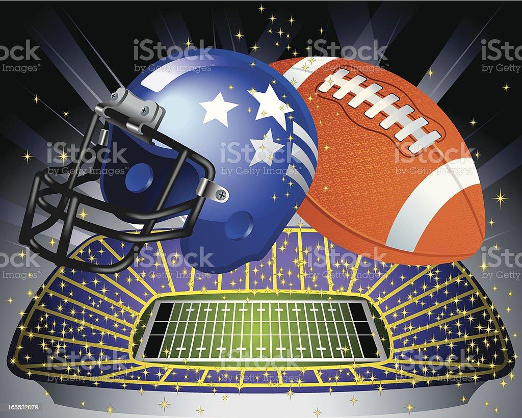 Football Ball, Helmet and Football Field Vector vector art illustration