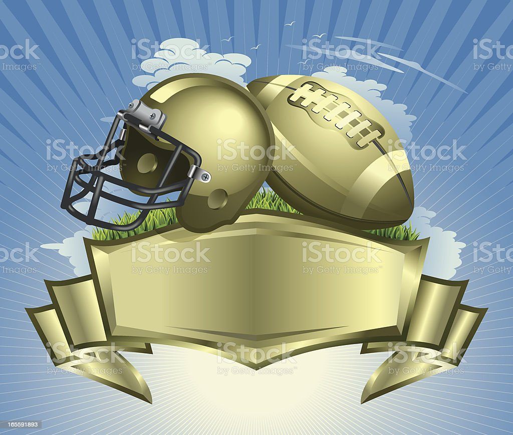 Football Ball, Helmet and Golden Crest Vector vector art illustration