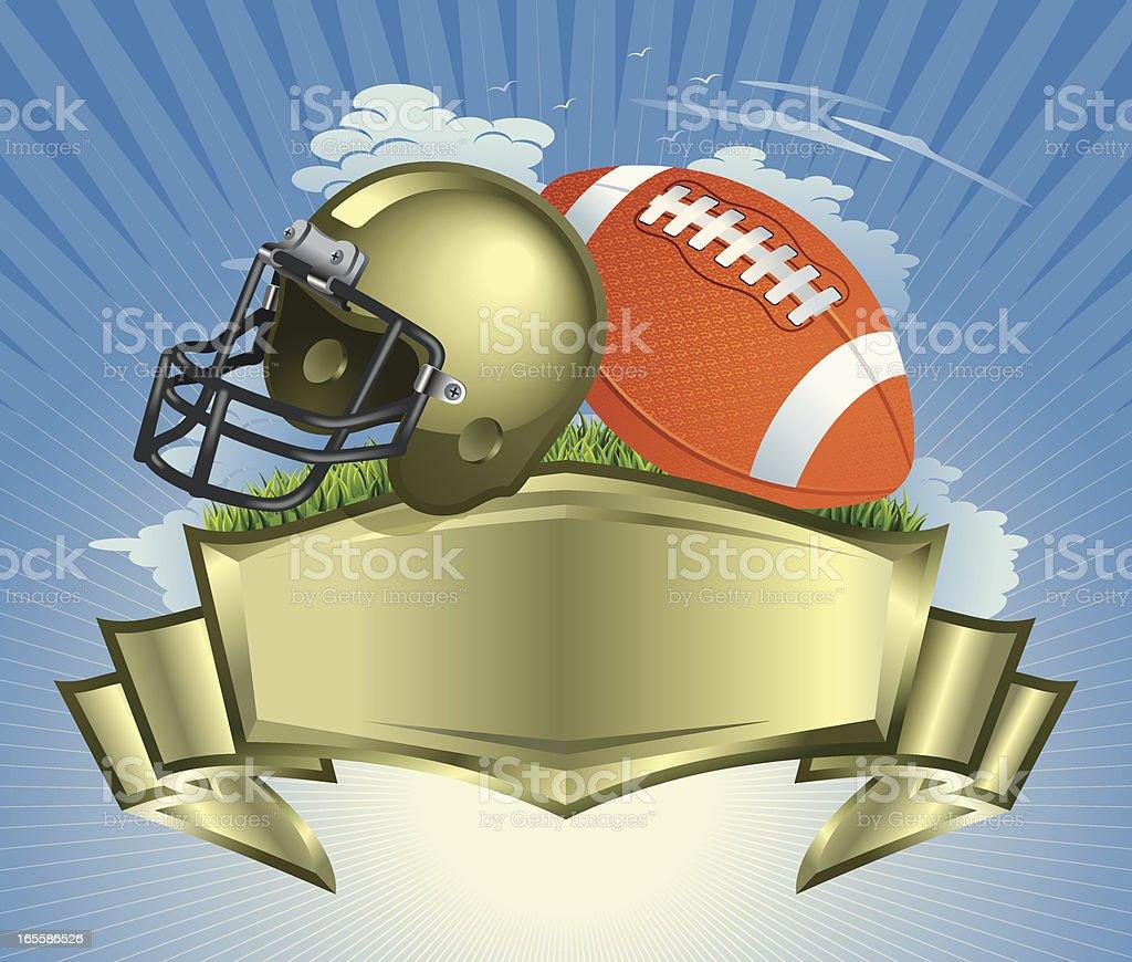 Football Ball, Helmet with Golden Crest vector art illustration