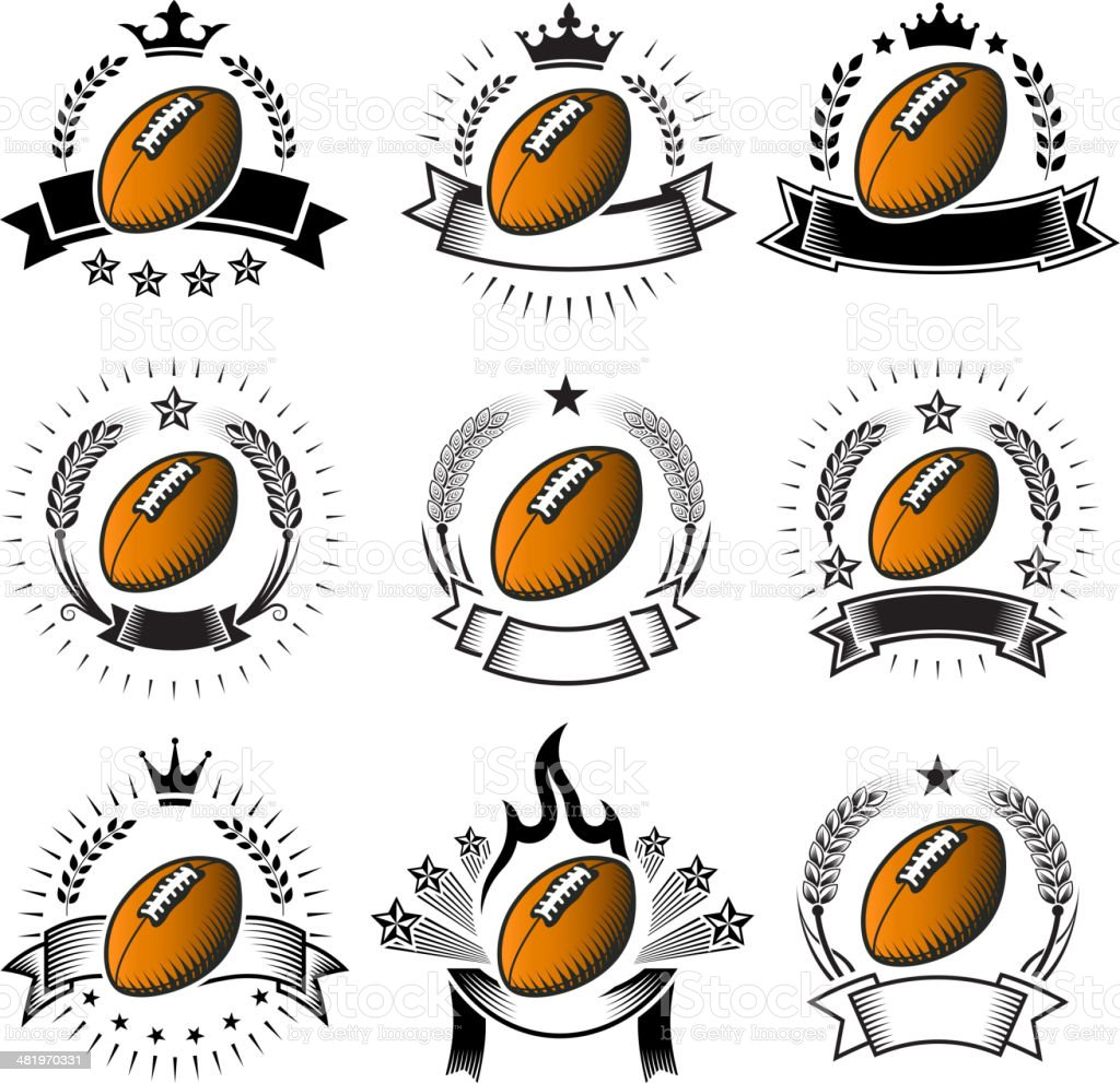 Football Ballblack & white royalty free vector badges with banners royalty-free stock vector art