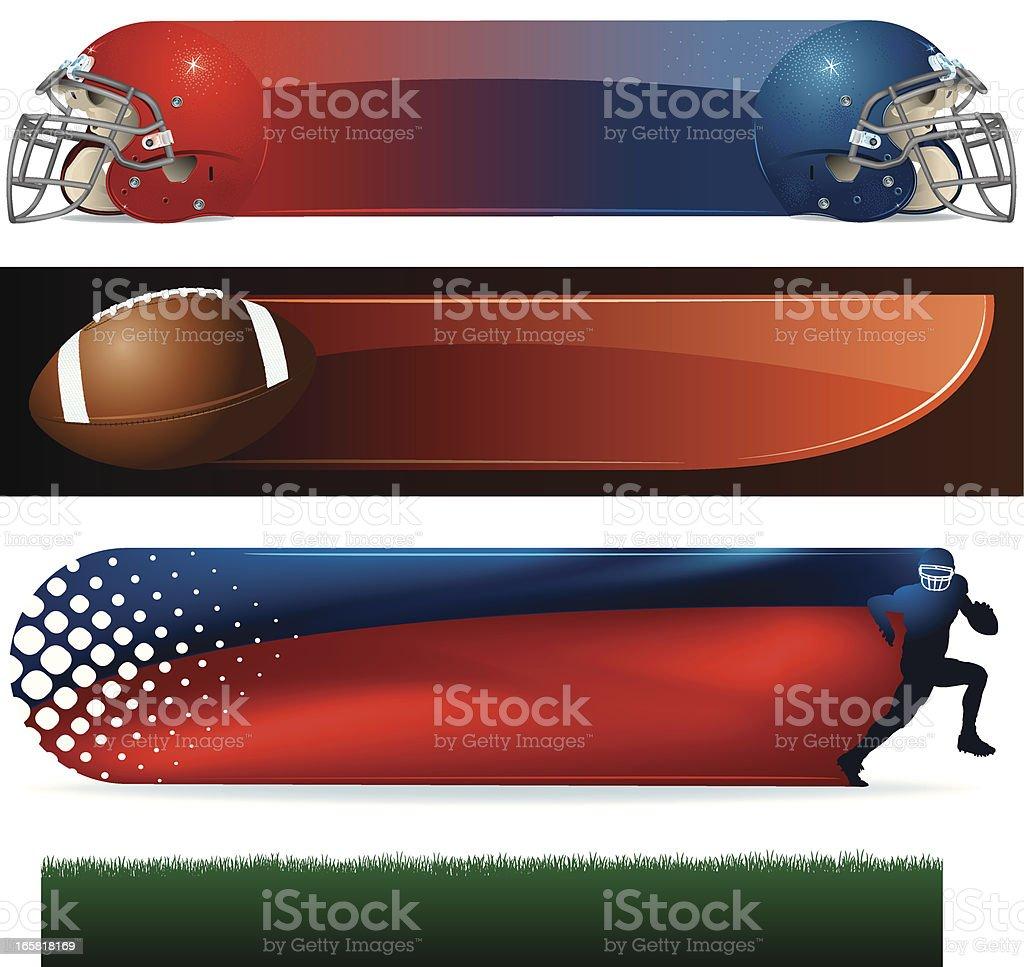Football Banner Backgrounds - Helmets, Ball, Runner, Field royalty-free stock vector art