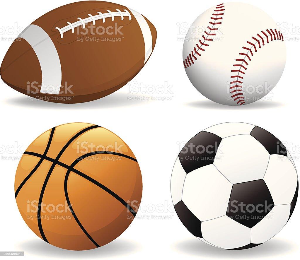 Football, baseball, basketball, soccer ball royalty-free stock vector art