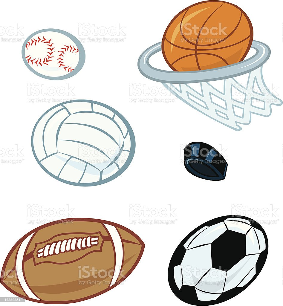 Football, Basketball, Soccer, Baseball, Hockey Puck Sports Equipment vector art illustration