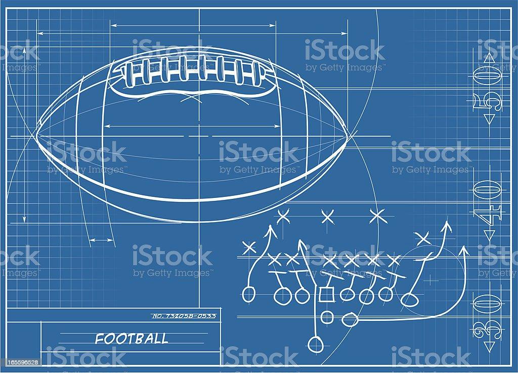 Football Blueprint vector art illustration