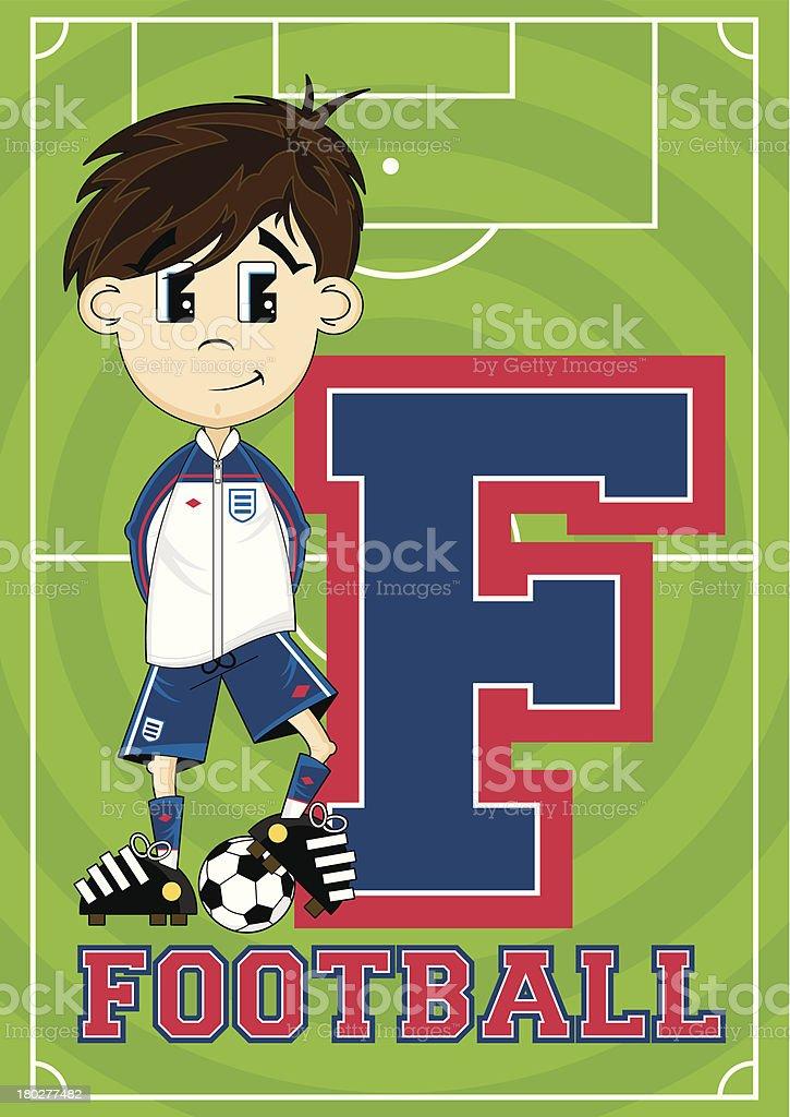 Football Boy Learning Letter F royalty-free stock vector art