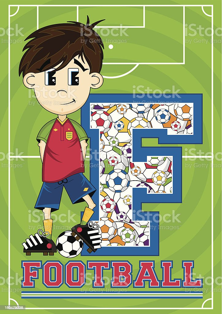 Football Boy Patterned Learning Letter F royalty-free stock vector art