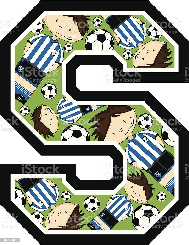 Football Boy Patterned Learning Letter S royalty-free stock vector art