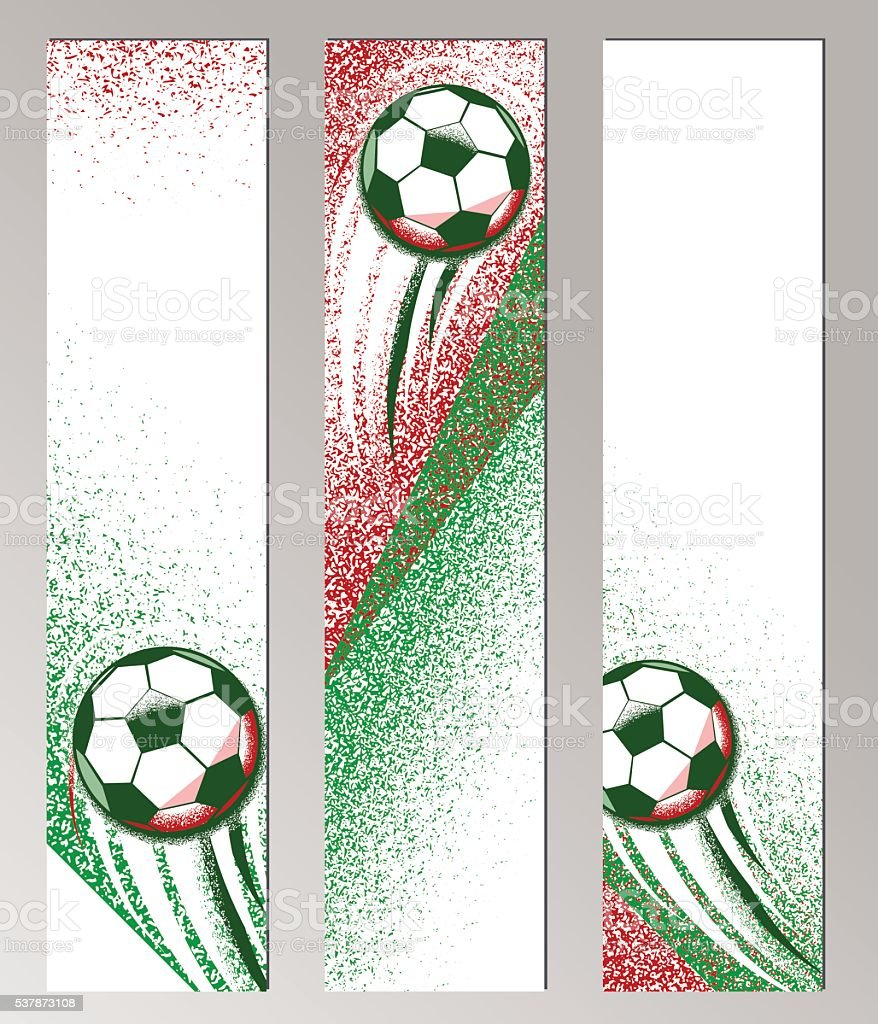 Football championship vertical banner with ball, field and italian flag vector art illustration