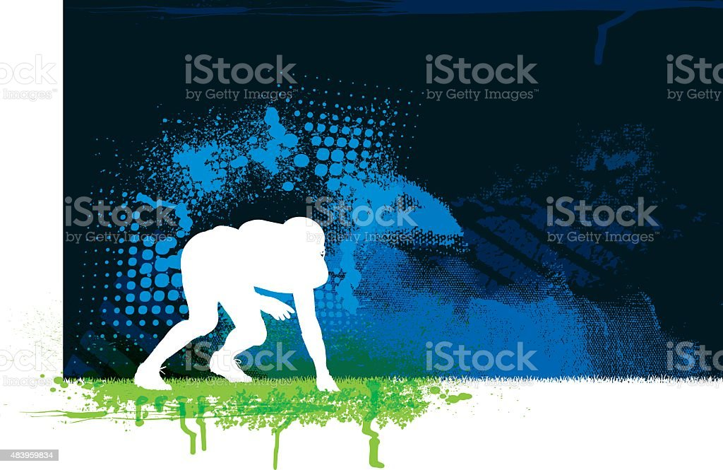 Football Defense Player Background vector art illustration