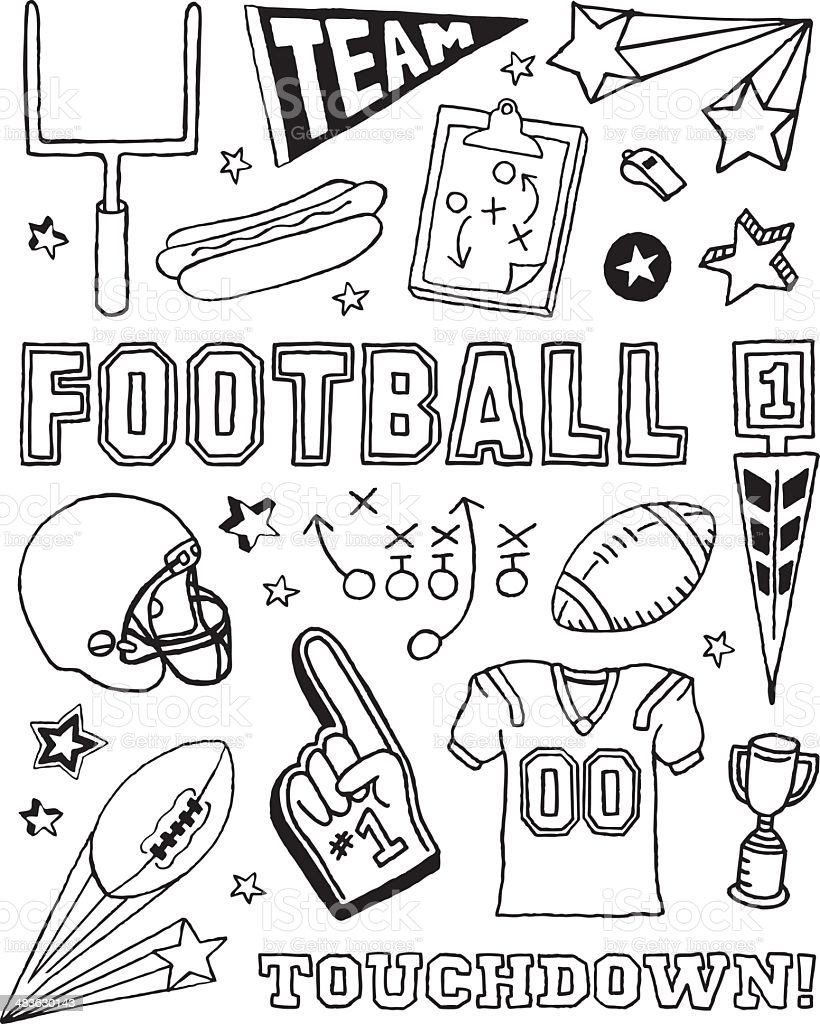 Football Doodles royalty-free stock vector art