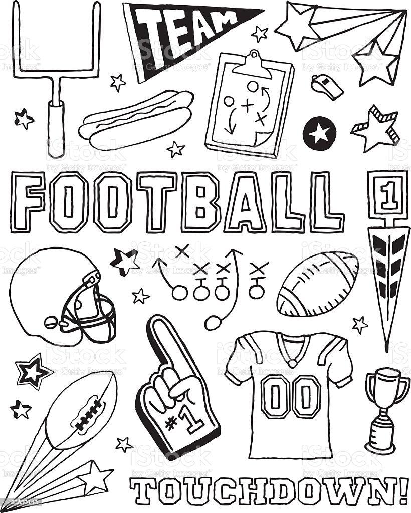 Football Doodles vector art illustration