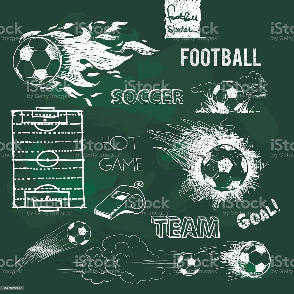 Football elements and ball on green chalkboard vector art illustration