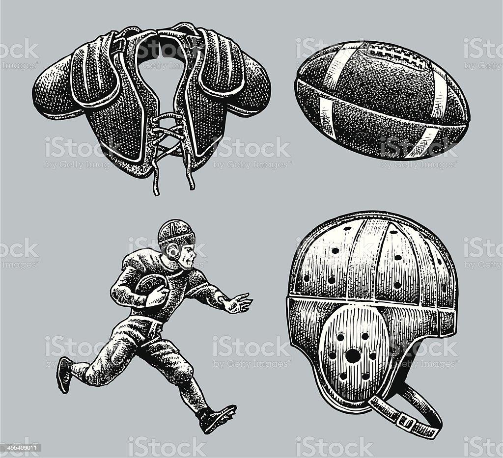 Football Equipment, Player, Shoulder Pads and Helmet - Retro royalty-free stock vector art