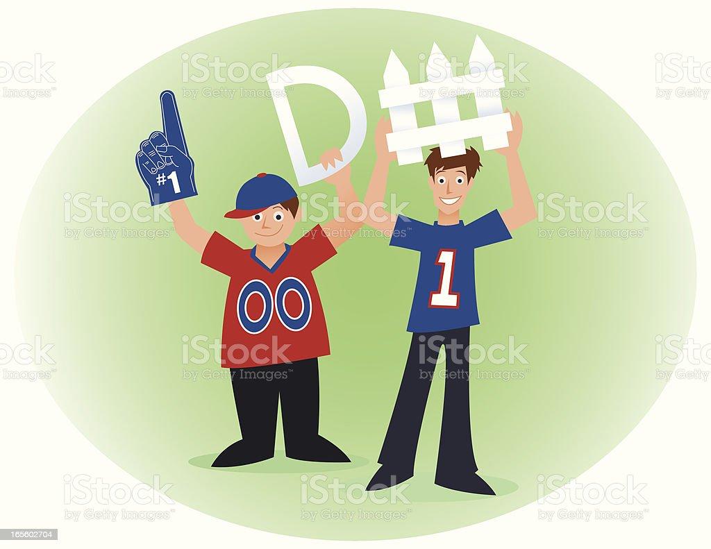 Football Fans vector art illustration
