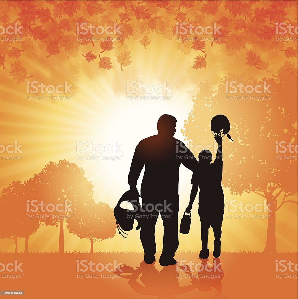 Football Father and Son Background vector art illustration