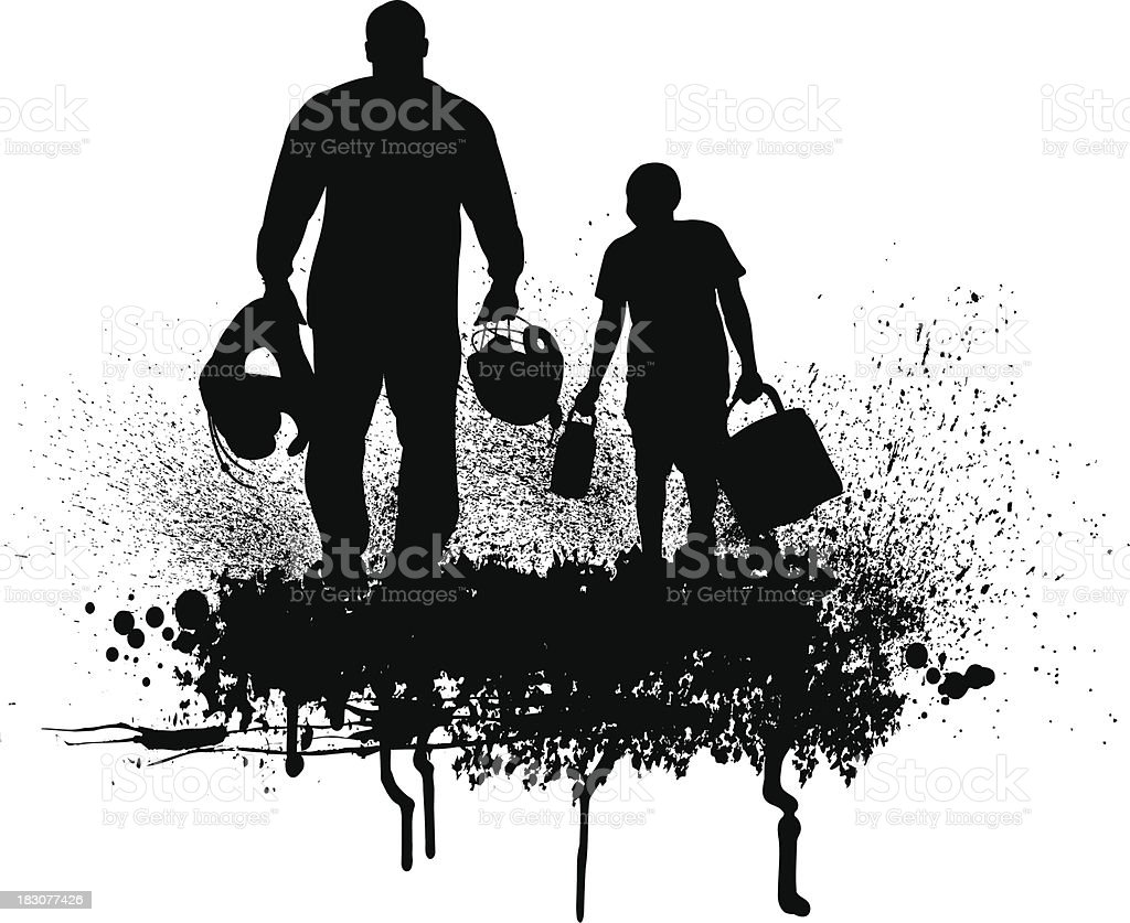 Football Father and Son Grunge Graphic royalty-free stock vector art
