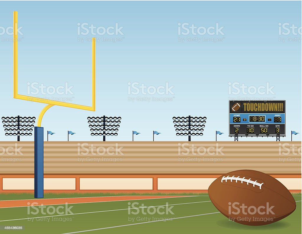 A football field with a touchdown screen royalty-free stock vector art