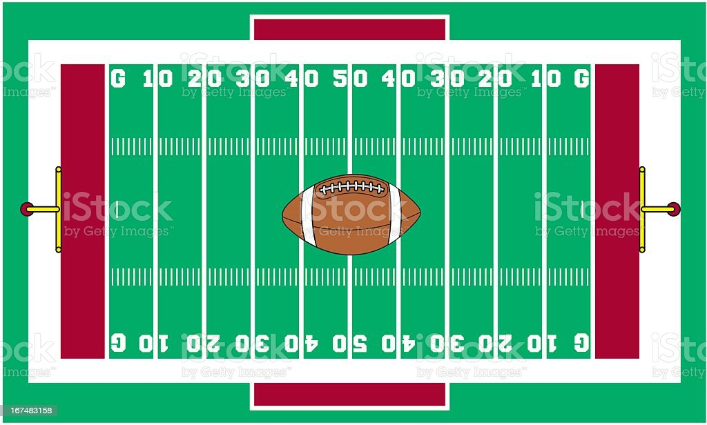 Football Field with Ball royalty-free stock vector art