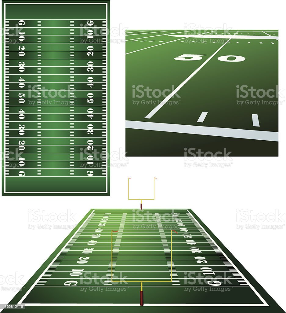 Football Fields, Goal Posts and Fifty Yard Line Background royalty-free stock vector art