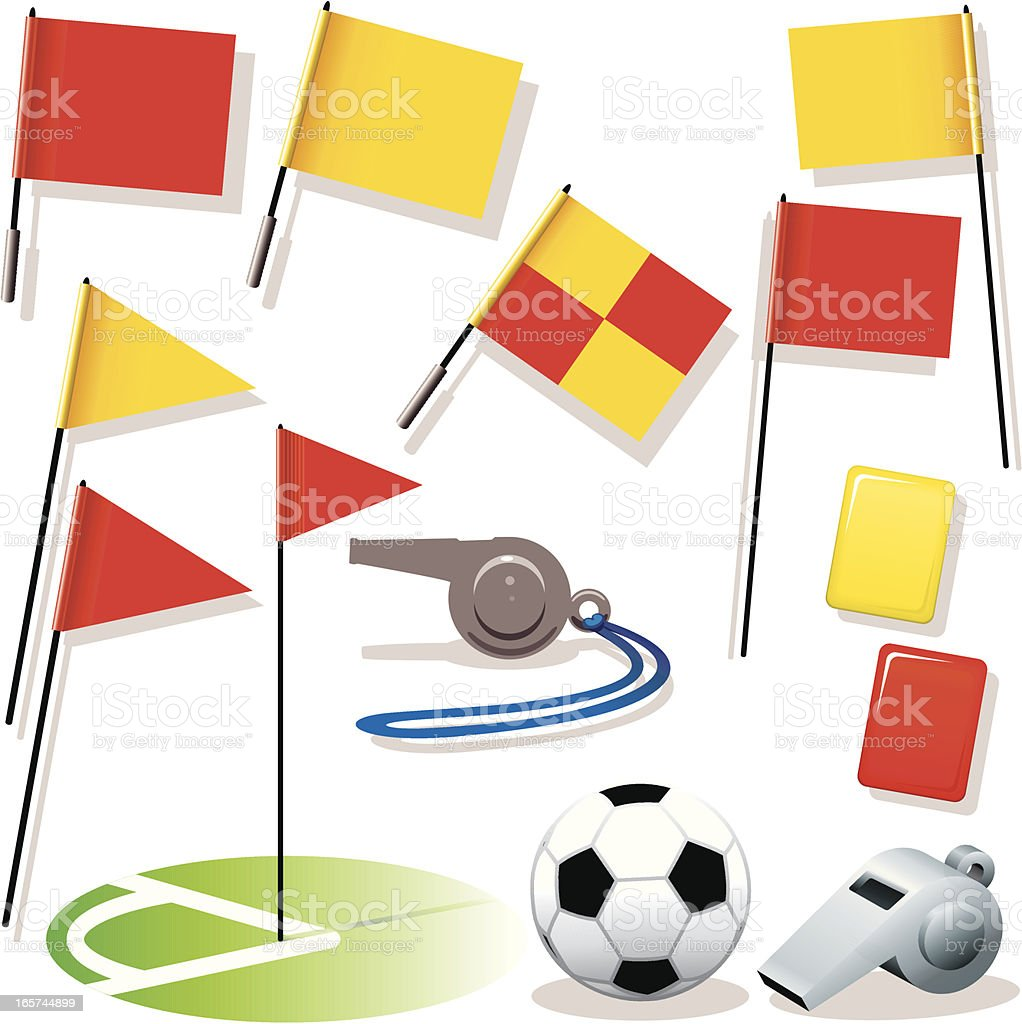 Football Flags Whistles Ball royalty-free stock vector art