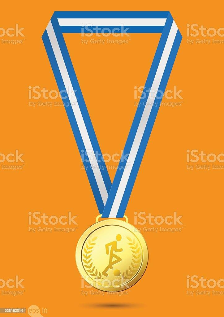 Football Gold medal vector art illustration