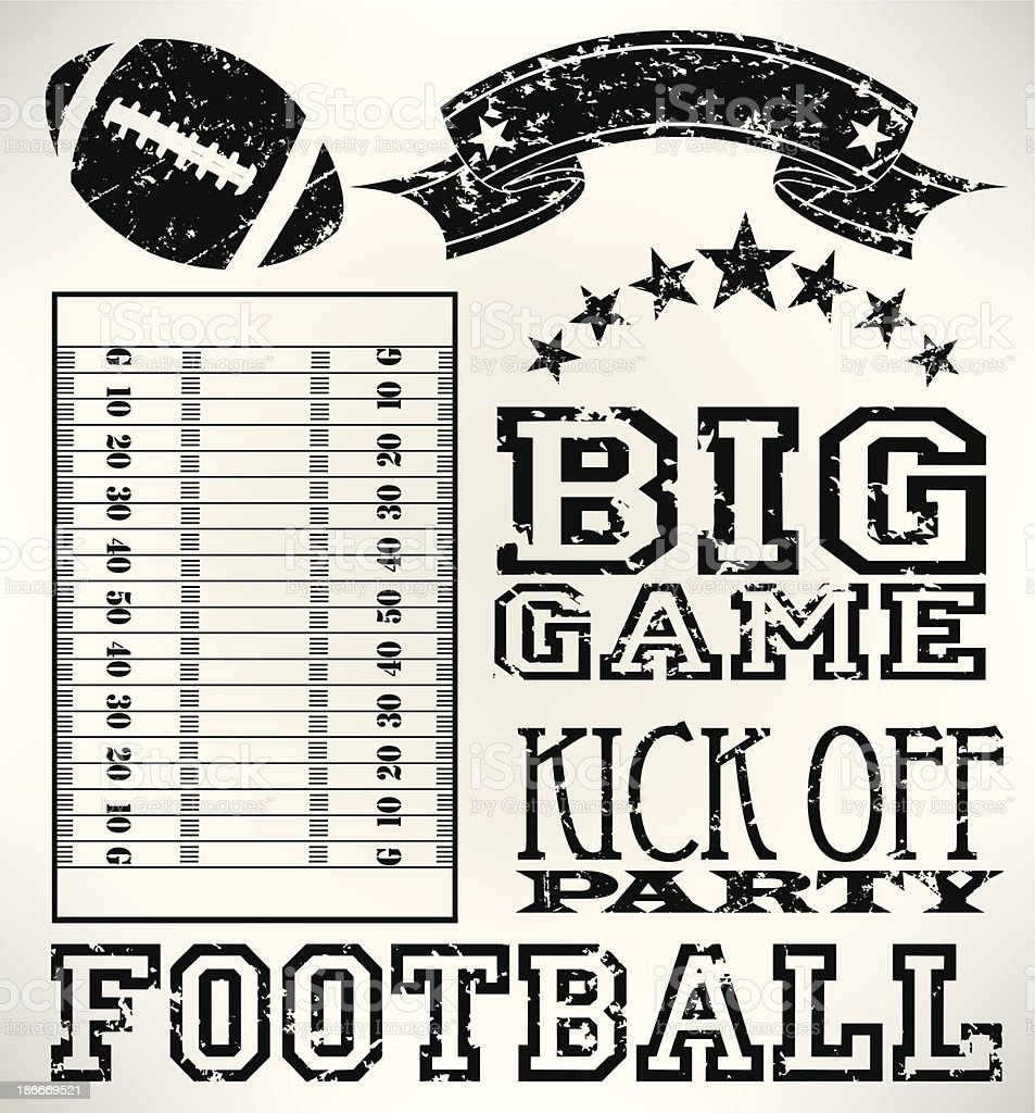 Football Grunge Elements - Ball, Field, Banner vector art illustration
