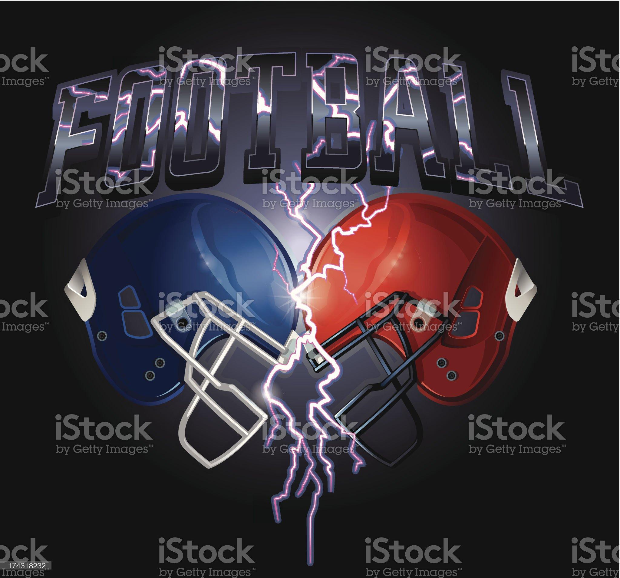 Football Helmet Lightning royalty-free stock vector art