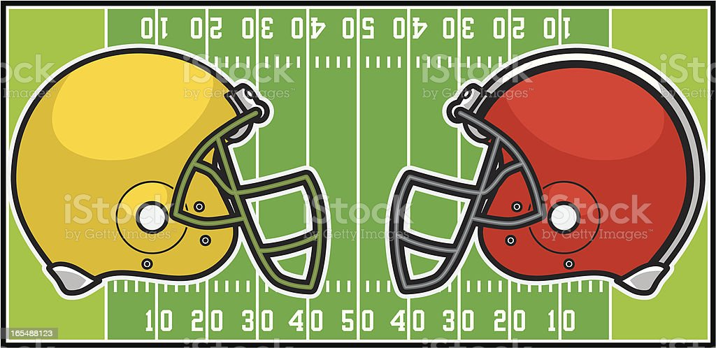 football helmets and field royalty-free stock vector art