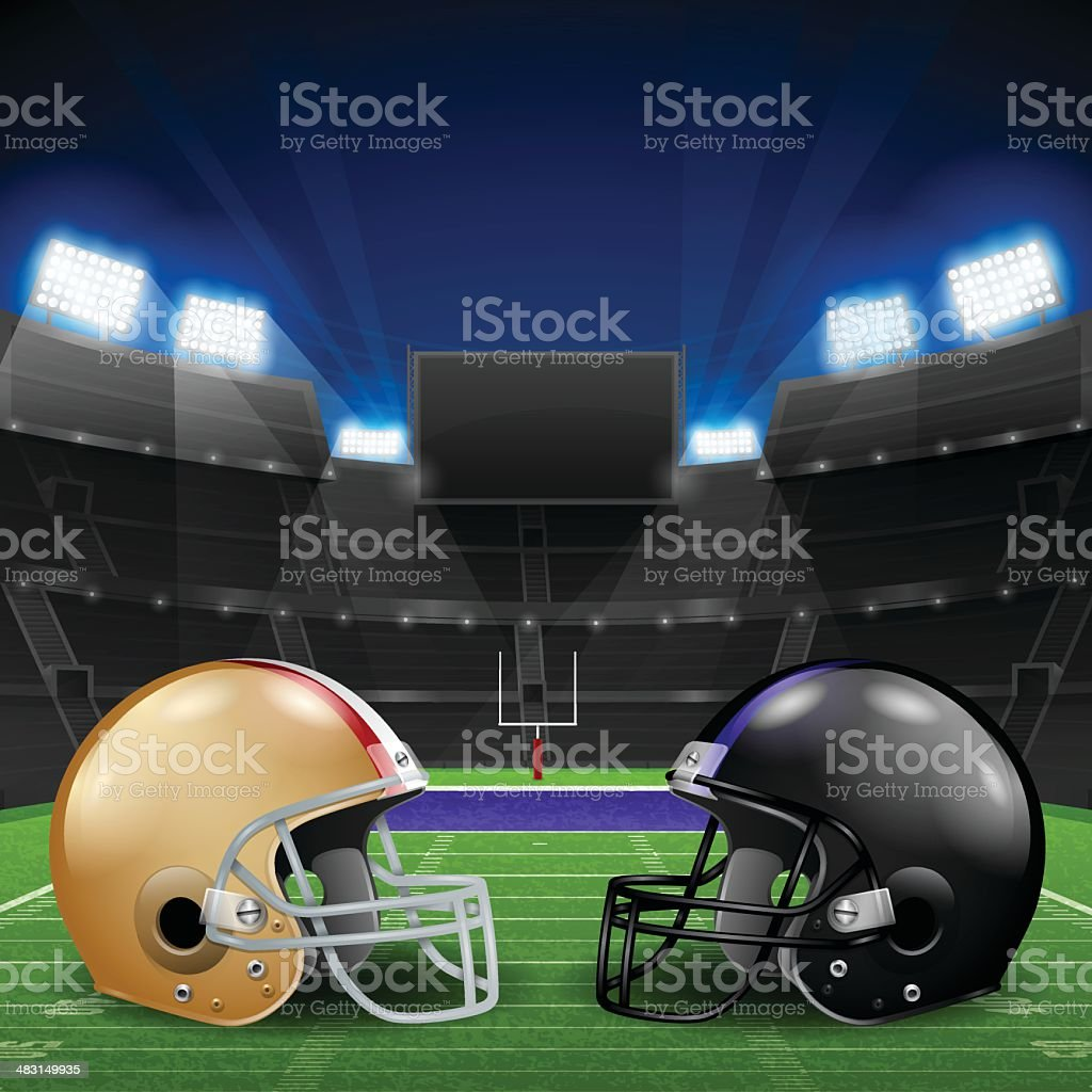Football Helmets Stadium royalty-free stock vector art