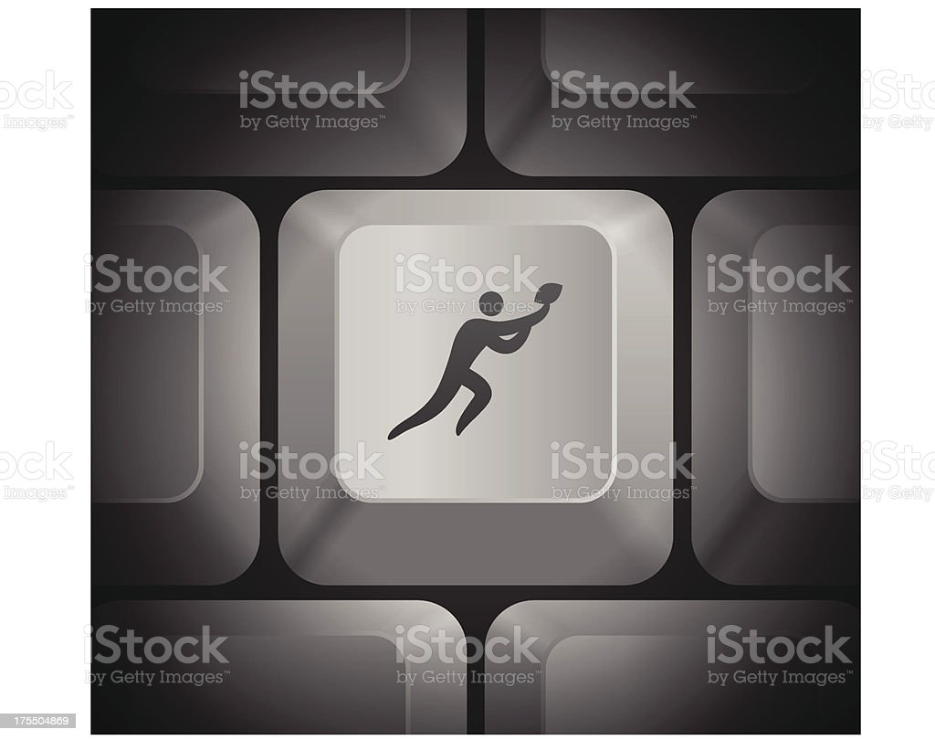 Football Icon on Computer Keyboard royalty-free stock vector art