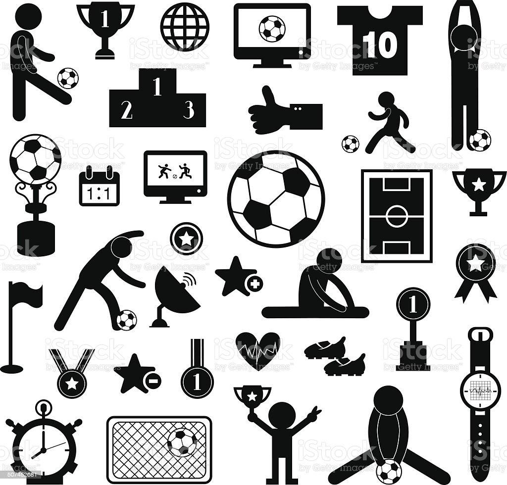 football icon set vector art illustration