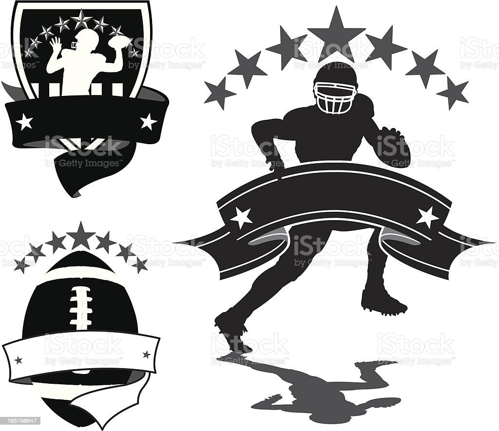 Football Icons - Quarterback, Ball and Banners royalty-free stock vector art