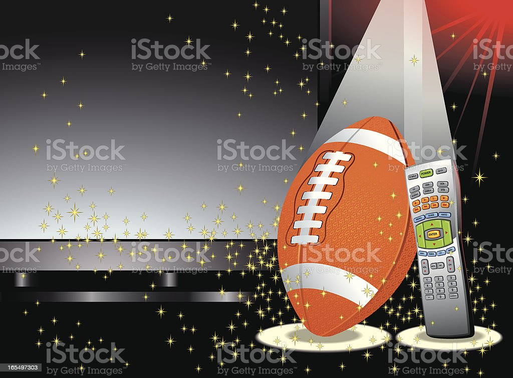 Football In Front of TV Screen with Remote Control Vector royalty-free stock vector art