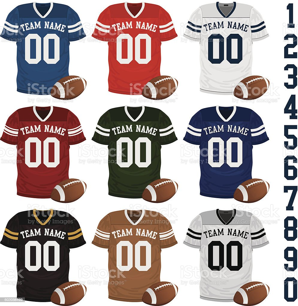 Football Jersey Collection vector art illustration