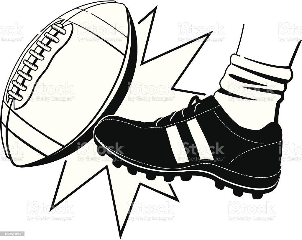 Football Kickoff BW vector art illustration